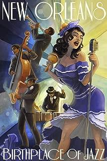 New Orleans, Louisiana - Jazz Scene (9x12 Art Print, Wall Decor Travel Poster)