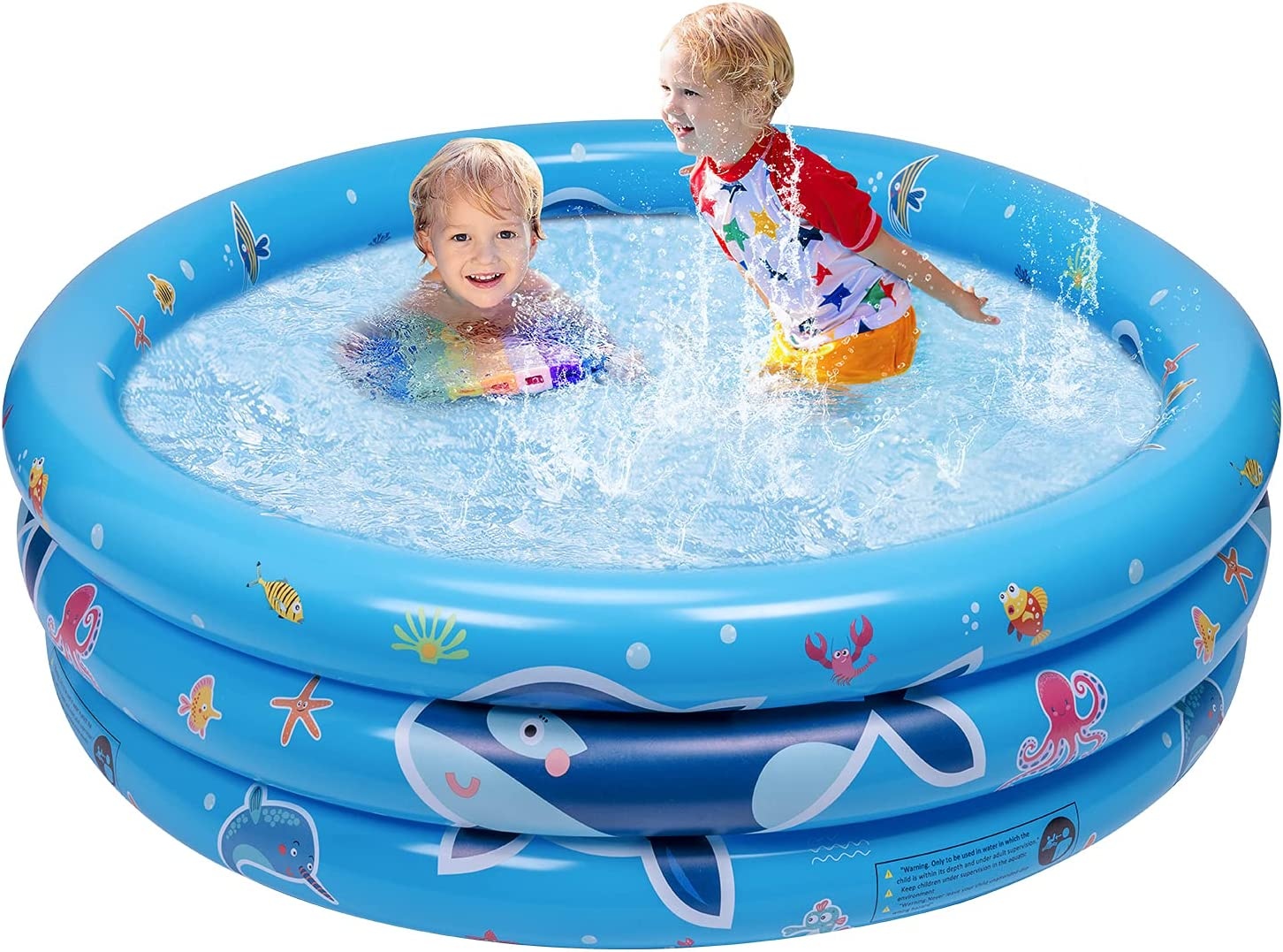 balnore Inflatable Kiddie Pool, 3 Ring Kids Paddling Whale Pool, Baby, Toddlers for Ages 3+, Kiddie, Indoor&Outdoor, Garden and Backyard Water Party, 48x18x8 in: Toys & Games