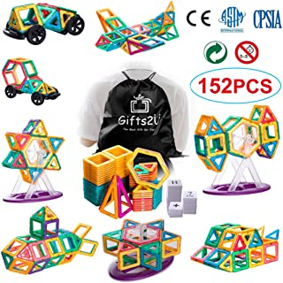 Gifts2U 152 PCS Magnetic Building Blocks Educational STEM Toys Creative Magnetic Tiles Construction Kit Magnet Stacking Toys for Kids Toddlers Boys Girls