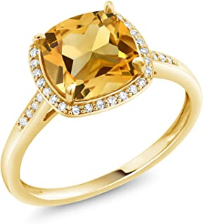 10K Yellow Gold Yellow Citrine and Diamond Women's Engagement Ring (3.00 Cttw Cushion Cut Gemstone Birthstone Available in size 5, 6, 7, 8, 9)