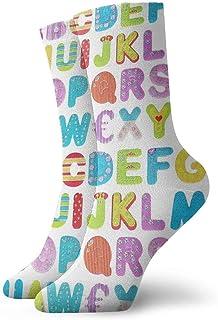 Wdskbg Cheerful Cartoon Fun Alphabet Design Casual Crew Socks,Thin Socks Short Ankle for Outdoor,Running,Athletic,Travel
