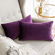 In House 2-Piece Velvet Rectangular Decorative Seat Cushion 30x50cm - Aubergine