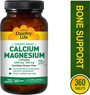 Country Life Target Mins Calcium-Magnesium Complex, 1,000 mg/500 mg Per 2 Tablets, 360-Count