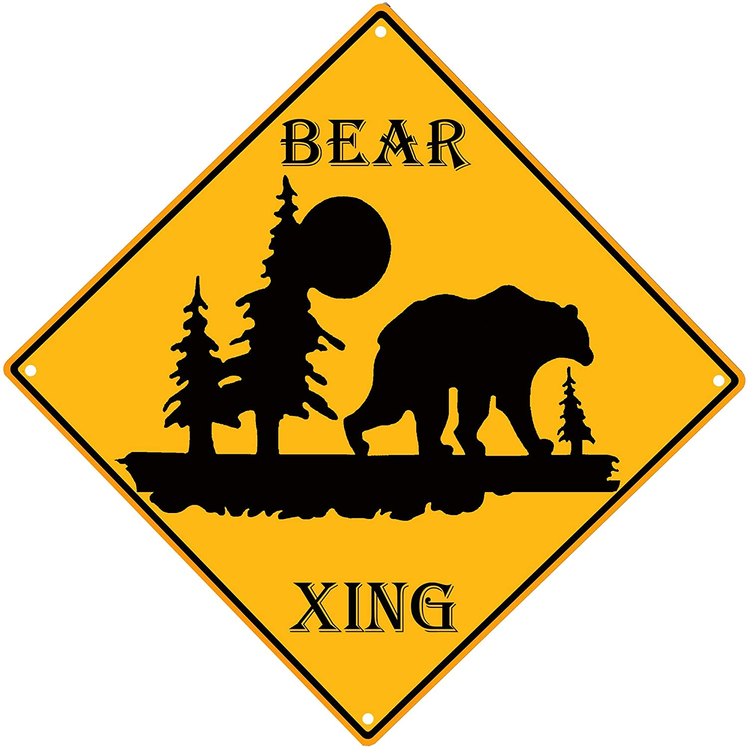 PXIYOU Funny Bear Xing Crossing Forest Danger Caution Sign Lodge Decor for Man Cave Cafe Bar Pub Beer Wall Decor 12X12Inch