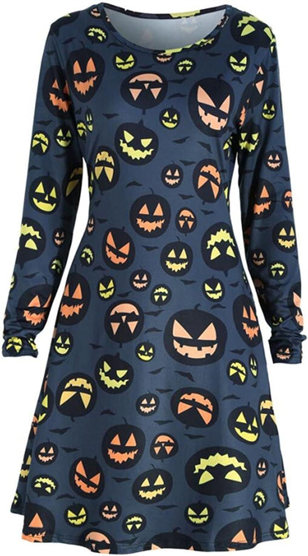 Womens Award-winning store Halloween Pumpkins Max 46% OFF Skull Print Cas Round Sleeve Neck Long