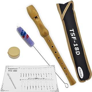 Tuyama® TFS-18D C-Soprano Flauto Dulce Soprano - Digitación Alemana - Madera de Arce - con Tablatura y 2 Partituras - Soprano Recorder Flute