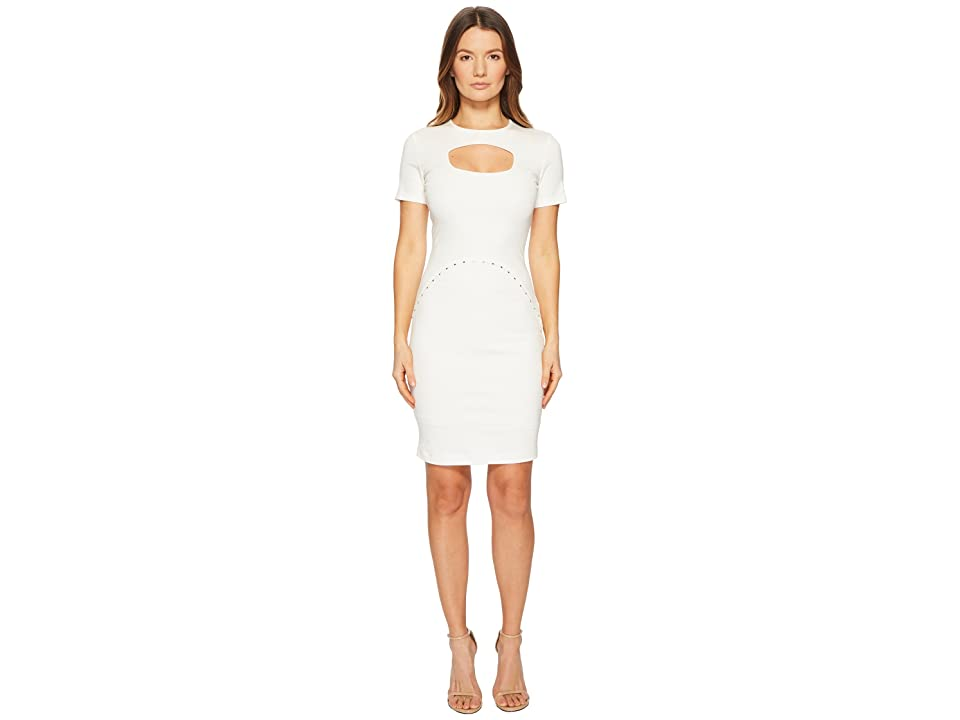 Versace Jeans Couture Short Sleeve Dress w/ Cut Out (White) Women