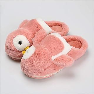OMING Pantuflas Zapatillas de algodón de pingüinos otoño e Invierno hogar Lindo Peluche niñas Interior Calidez hogar Parej...