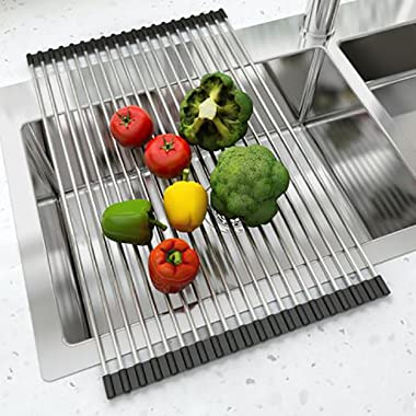 Over The Sink Dish Drying Rack Heavy Duty in 304 Grade Stainless Steel with Silicone Ends Roll Up Large Size 47cms x 35.5cms