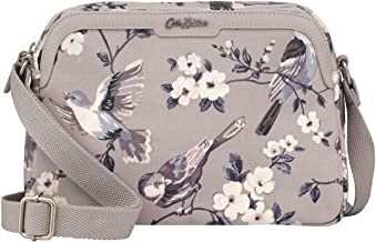 Cath Kidston Mini Samson | Women's British Birds Embroidered Shoulder Bag | Female's Imported Zipped Bags | Stylish & Fashionable European Style | Teenage Girls Vintage Durable Bag (Mink)
