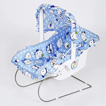 FLIPZON 9-in-1 Carry Cot/Bouncer for Baby with Mosquito Net & Sun Shade - Blue
