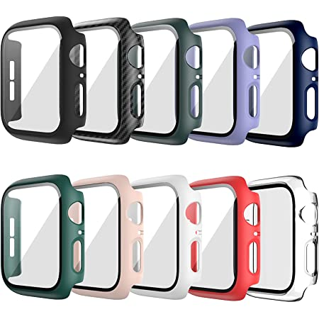 10 Pack Hard Case Compatible For Apple Watch Series 3 38mm with Built-in Tempered Glass Screen Protector,JZK Thin Bumper Full Coverage Bubble-Free Cover for iWatch Series 3/2/1 38mm Accessories