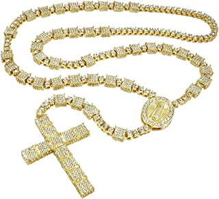 14k Yellow Gold/White Gold/Black Gold-Plated Iced Rosary - Jesus Christ Cross Pendant 36 Inches