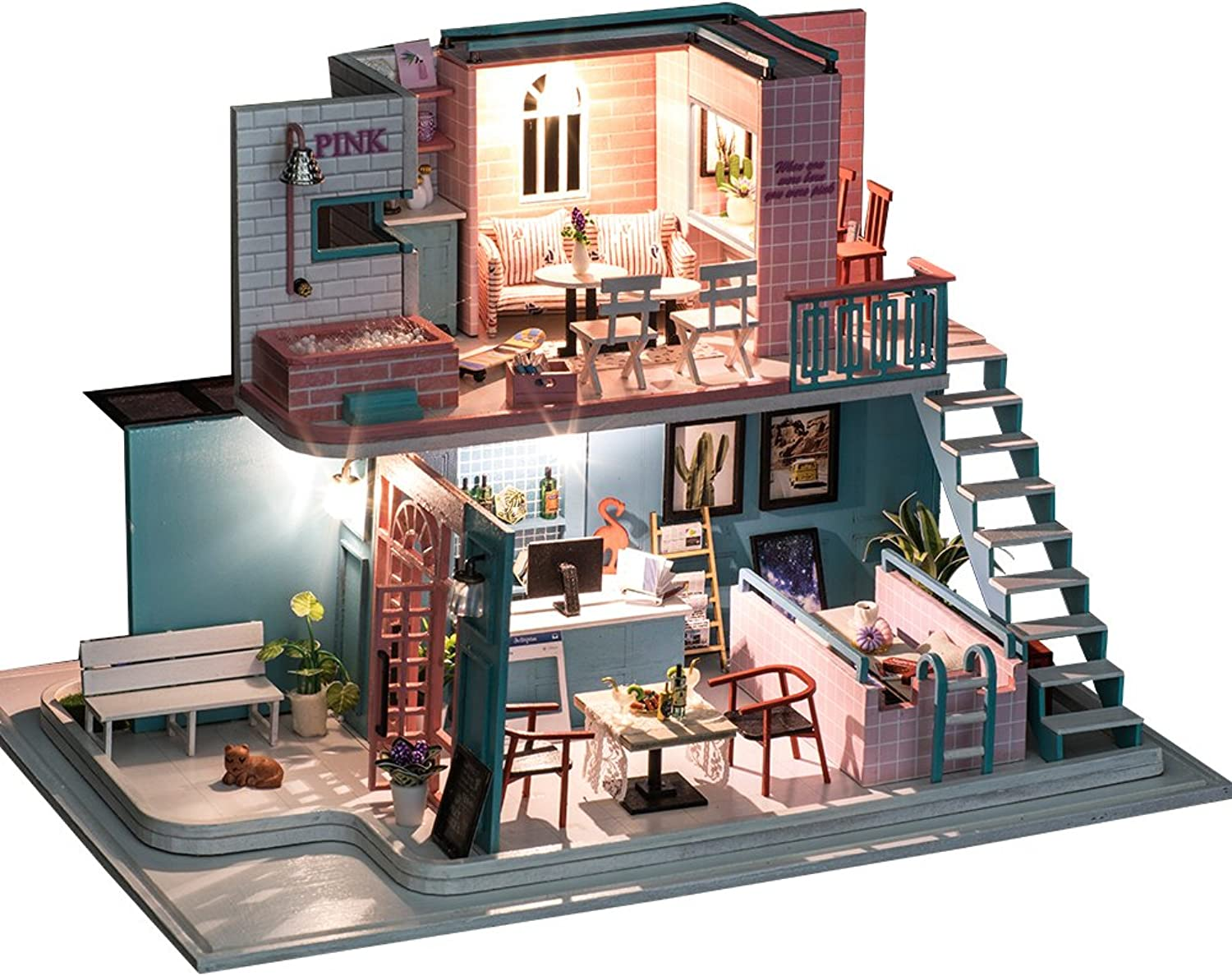 DIY Wooden Dolls House Handcraft Miniature Kit Creative Handmade Home Furniture 2 Levels Construction Model With Dust Cover (K034)