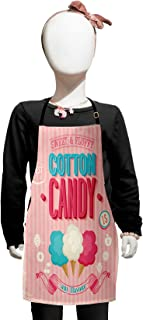 Lunarable Vintage Kids Apron, Cotton Candy Advertising Poster Design Aged Look and Fluffy Tasty Flavors, Boys Girls Apron Bib with Adjustable Ties for Baking Painting, Kids Size, Pink