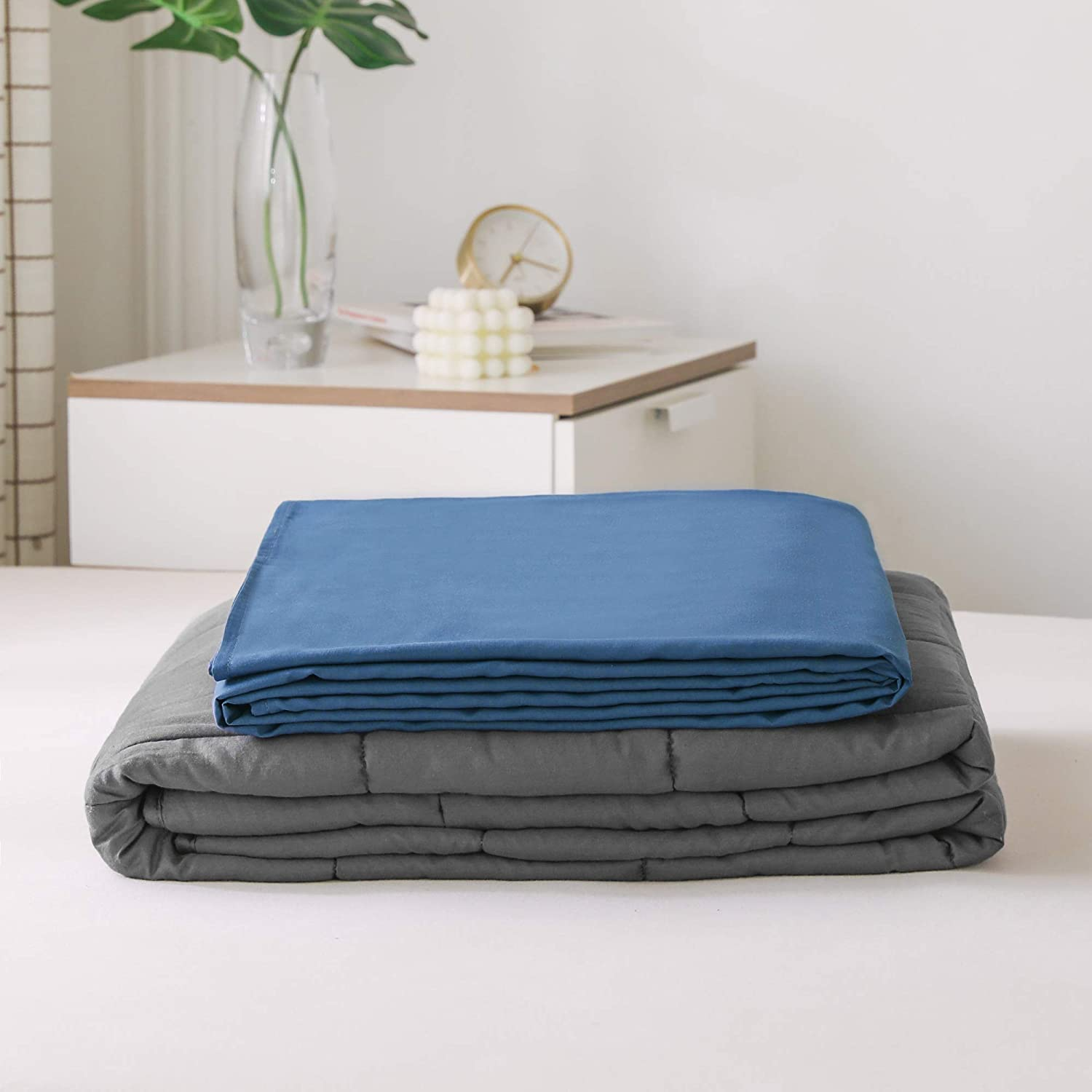 Premium Polyester Microfiber Removable Duvet Cover for Weighted Blanket-Grey PANDAHOME 48x72 Grey Duvet Cover