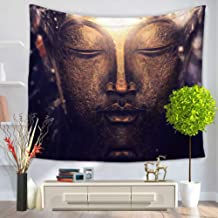LANGUGU Asian Tapestry,Buddhism Decorations Collection,Buddha Head Statue Picture,59 W X 51 L Inches?Wall Hanging for Bedroom Living Room Dorm