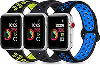 DOBSTFY Sport Band Compatible for iWatch Band 38 40 42 44mm,Soft Silicone Sports Band Replacement Wristband Strap Compatible for iWatch Series 5/4/3/2/1, Men/Women, 42 44mm S/M (Small)