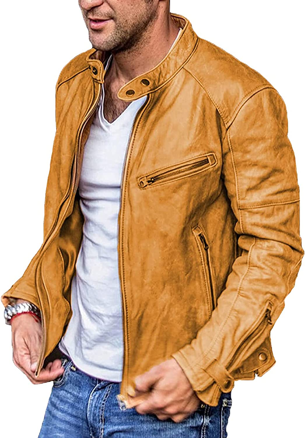 Men's Smooth Leather with Collar Casual Stand Collar P-U Faux Leather Zip-Up Motorcycle Bomber Jacket