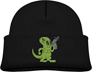 ABY14-YJ Infant Unisex Knit Beanie Hat Alien Dinosaur Holding Ray Cuffed Cotton Soft Fashion Skull Cap Black