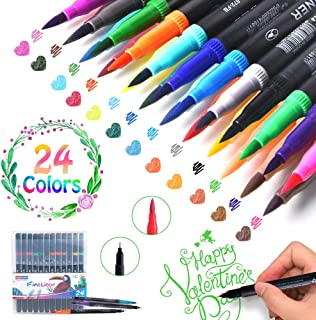 Dual Markers Brush Pen, Calligraphy Point Coloring Marker Ink Pens, 24 Pack Brush and Fine Tip Art Markers for Hand Lettering Coloring Book Sketching Taking Writing Planning Art Project