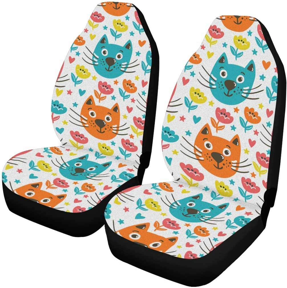 INTERESTPRINT Funny Cats Car Seat Cover Quantity limited Full Seats List price Front Only Se