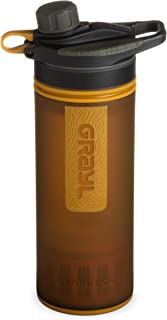GRAYL GeoPress 24 oz Water Purifier Bottle - Filter for Hiking, Camping, Survival, and Travel (Coyote Amber)