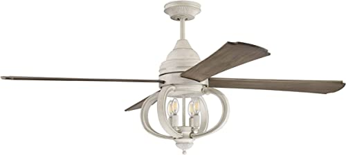 """discount Craftmade AUG60CW4 Augusta Dual Mount 60"""" Ceiling Fan lowest with LED Light and outlet online sale Remote Control, 4 Blades, Cottage White sale"""
