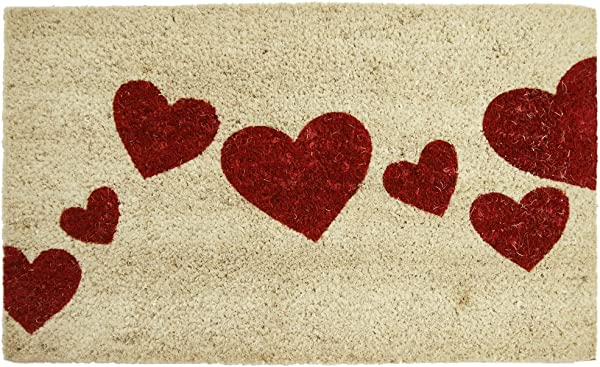 Rubber Cal Red Hearts Coir Entrance Mat 18 X 30 Inch