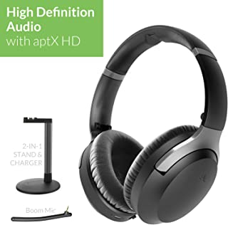 Avantree Aria Podio aptX-HD Bluetooth 5.0 Active Noise Cancelling Headphones, Wireless Over Ear Headset with Boom Microphone for PC Computer Conference Phone Calls