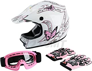 TCMT Dot Youth & Kids Motocross Offroad Street Helmet Pink Butterfly Motorcycle Youth Helmet Dirt Bike Motocross ATV Helmet+Goggles+Gloves L