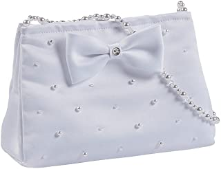 White Purse with Pearl Handle (with Pearl Detailing and Bow)
