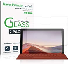 """amFilm Glass Screen Protector for Microsoft Surface Pro 7, 6, 5, 4 Tempered Glass (12.3"""") 2 Pack"""