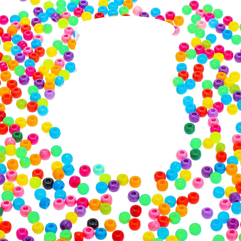 1000pcs Rainbow Pony Beads,5mm Plastic Craft Pony Beads Great for DIY Jewelry Bracelets Making (1000)