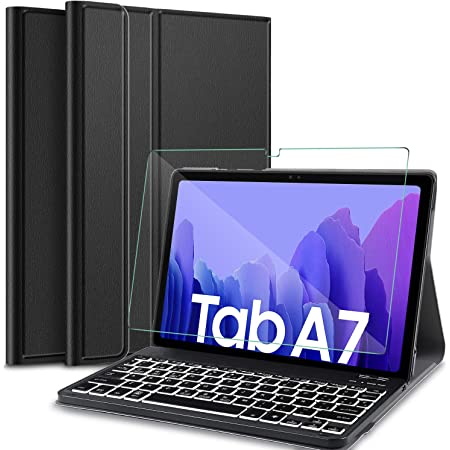 IVSO Español Teclado Compatible con Samsung Galaxy Tab A7, Protector de Pantalla para Samsung Galaxy Tab A7 T505/T500/T507 10.4 2020,Funda con 7 ...