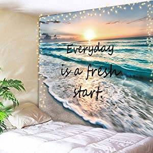 AMBZEK Ocean Positive Quote Tapestry Beach Hawaii Coastal 78Wx59H Inch Seashore Sea Waves Sunrise Inspirational Life is Good Natural Scene Art Wall Hanging Bedroom Living Room Dorm Decor Fabric