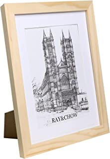 Ray & Chow A4 Natural Bare Matted Picture Frame - Made to Display Pictures 6x8 inch with Mat or A4 Without Mat- Solid Wood- Glass Window- with Stand or Wall Hanging