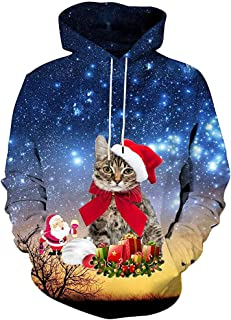 Opinionated 3D Funny Christmas Hoodie Printed Sweatshirt Ugly Sweater Long Sleeve Tops with Pocket for Men Women