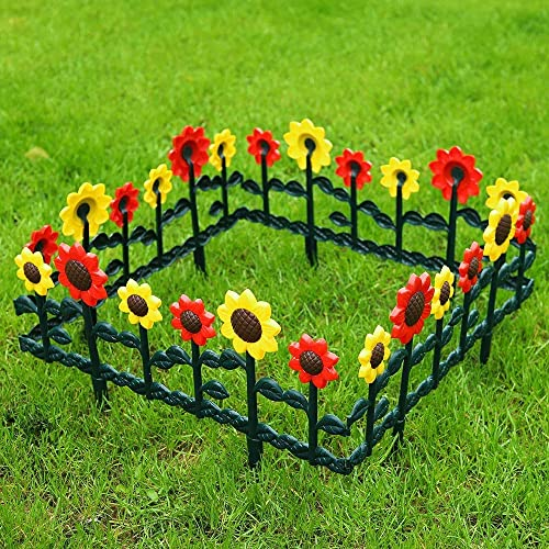 lowest SkyMall online Decorative 8 Piece Colorful Sunflower outlet sale Garden Border Fence Stakes outlet online sale