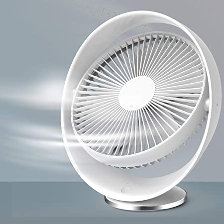 RATEL Ventilateur de USB Bureau Silencieux de 8 Pouces Blanc, Ventilateur de Rechargeable pour Les Voyages à Domicile en Extérieur, Batterie 2000 mah / 3 Niveaux de Vitesse/Rotation De 60°
