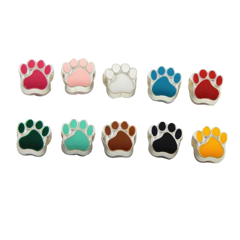 Julie Wang 80pcs Mixed Enamel Cat Dog Paw Footprint Beads for European Charm Bracelet 11x11mm