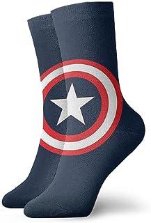 NHUXAYH, Calcetines deportivos, calcetines Capitán América Crew Calcetines al aire libre para hombres Mujeres