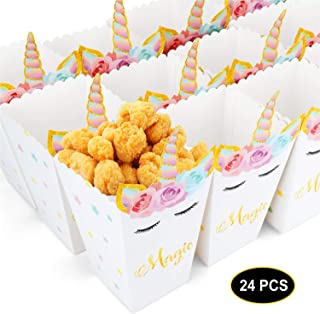 24pcs Popcorn Snack Boxes Rainbow Unicorn Design Treat Box Popcorn Containers for Baby Shower Birthday Party Supplies