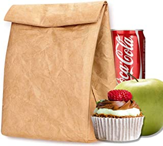 Eco Lunch Bag, Tyvek Lunch Box for Women Man, Reusable Insulated Freezable Brown Paper Snack bags for Work Picnic School