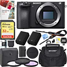 Sony a6500 ILCE-6500 4K Mirrorless Camera Body with APS-C Sensor Black Bundle with Camera Bag Travel Case, Extra Battery, External Charger, 32GB Memory Card, Paintshop Software and 40.5mm Filter Kit