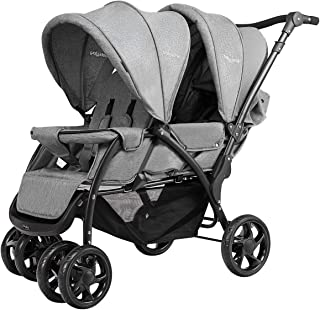 Grau YIYIBY Geschwisterwagen Zwillingsbuggy Kinderwagen leichter Buggy mit Regenschutz und Musik f/ür 2 Kinder Altes Baby