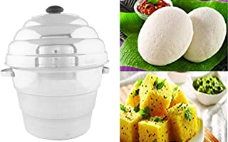 Kuber Industries Idco06 9.5 inches Aluminium Idli Maker Cooker with 4 Plates and 3 Plates Steamers -2 Dhokla Plate and 1 Patra Plate (Silver)