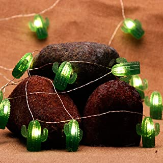 IMPRESS LIFE Tropical Themed Cactus Succulents String Lights Decoration, Desert Texas Cowboy 10ft 20 LEDs Cacti Fairy Lights Battery Powered Remote for Wreath Bedroom Wedding Home Party Supplies Decor