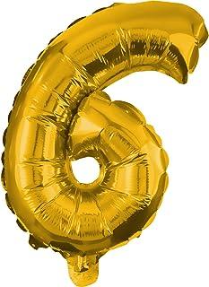 Procos Number 6 Golden Foil Balloon (2.7ft / 85cms)