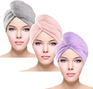 Microfiber Hair Towel Wrap 3 Pack Hair Drying Towels Ultra Absorbent, Super Absorbent Quick Dry Hair Turban Fast Soft, Ant...